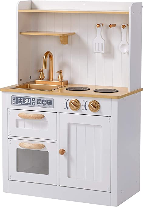Hooga Toy Kitchen Wooden Play Kitchen With Realistic Oven Storage Cupboards Utensils And Sink With Taps White Kitchen Playset With Utensils And Interactive Dials Amazon Co Uk Toys Games