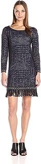 Lucky Brand Womens Knit Shift Fringed Hem Dress, Black (Small)