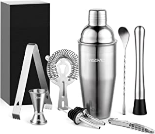 Yissvic 9Pcs Cocktail Shaker Set Cocktail Shaker Cocktail Kit Professional 700ml Cocktail Shaker Cocktail Set Stainless St...