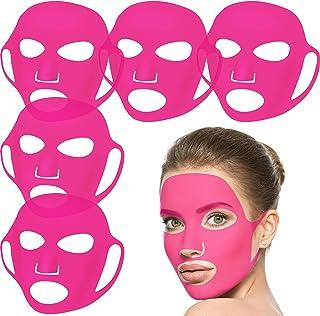 5 Pieces Reusable Silicone Facial Mask Facial Mask Cover Silicone Skin Mask Reusable Moisturizing Face Silicone Face Wrap ...