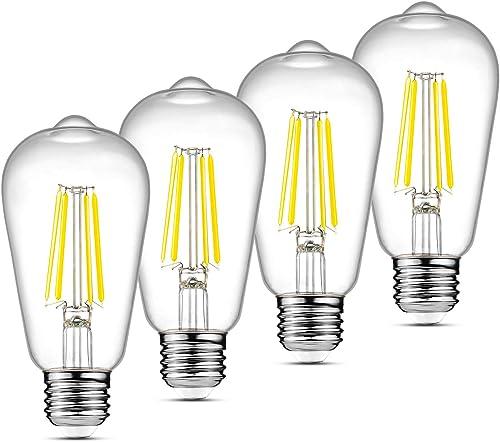 Ascher LED Edison Bulbs 6W, Equivalent 60W, High Brightness Daylight White 4000K, 700 Lumens, ST58 Vintage LED Filame...