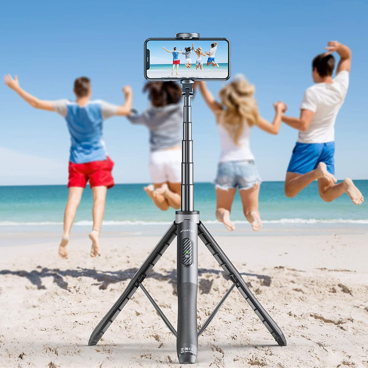ATUMTEK 51 Selfie Stick Tripod Blue All in One Extendable Phone Tripod Stand with Bluetooth Remote 360/° Rotation for iPhone and Android Phone Selfies Video Recording Live Streaming Vlogging