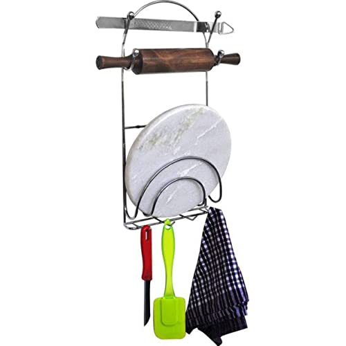 EOAN INTERNATIONAL Chrome Plated Mild Steel Chakla Belan Stand with Hooks, 2quarts, Silver