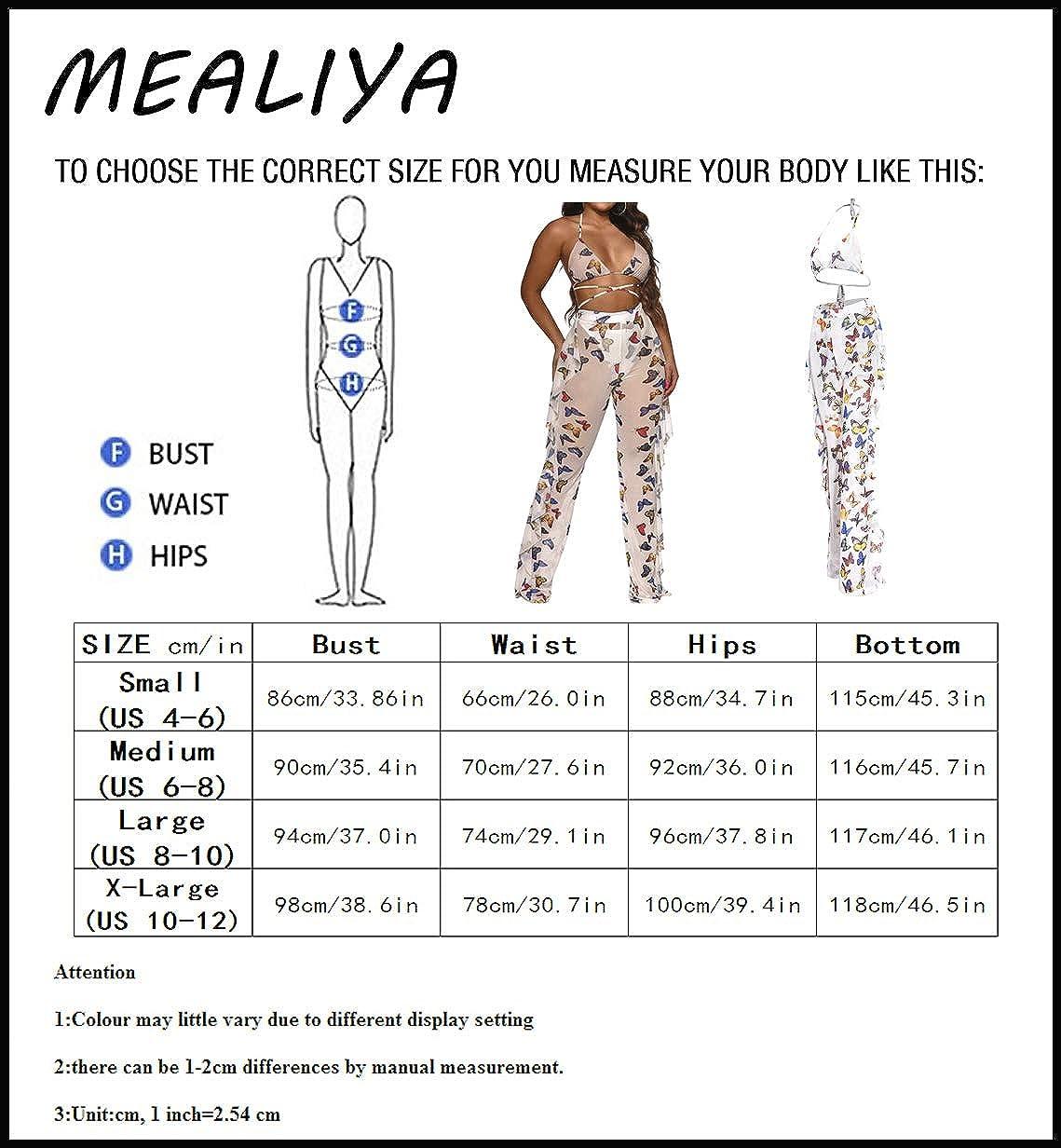 MEALIYA Women Summer Beach Halter Sexy Bikini Ruffle Pants Bottom Cover Up Sets Mesh Swimsuit