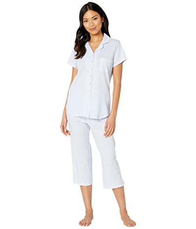Eileen West Cotton Jersey Knit Short Sleeve Notch Collar Capris Pajama Set (Blue Ground Geo) Women