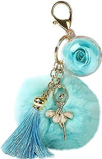 Keychain Women Girls Keyring with Blue Rose Flower Dancing Doll Tassels Hanging Pendant Handbag Decor Wife Girlfriend Daug...