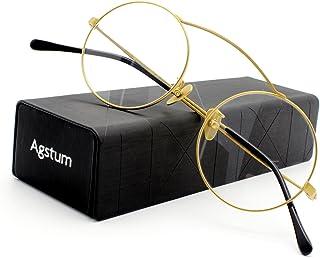 62fdf7561e7 Agstum Pure Titanium Retro Round Prescription Eyeglasses Frame 46mm