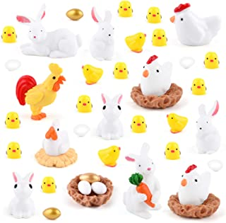 TUPARKA 40Pcs Animals Miniature Figurines, Easter Rabbit Miniature Figurines, Chicken Figurines, Cock,Hen,Egg,Chicken Nest Ornaments for Fairy Garden Cake Cupcake Toppers Easter Party Decoration