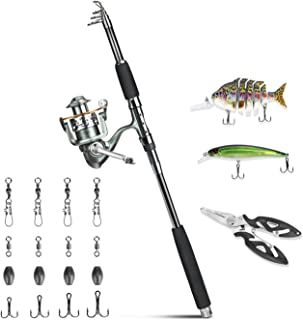 ROSE KULI Fishing Rod and Reel Combos - Portable Collapsible Pole with Spinning Reel Kits for Travel Saltwater Freshwater Fishing