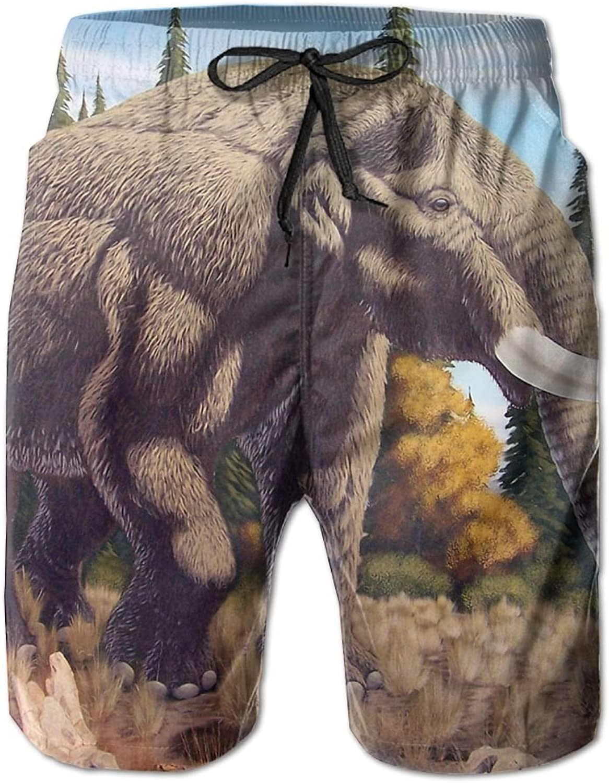 Beach Pants Free Elephant Mastodon Men's Workout Gym Short Shorts Pockets Sweatpants Waist Tension Design