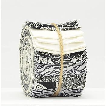 """Black /& Multicoloured 20 x 2.5/"""" Strips 100 /% Cotton Batik Mini JELLY ROLL"""