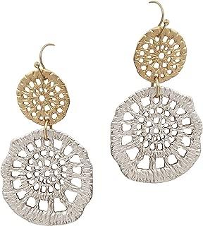 SULLEMM Crochet Pattern Filigree Double Casting Dangly Drop Earrings for Women