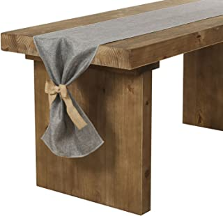Ling's moment Faux Burlap Table Runner Gray Dresser Cover 14 x 72 Inch with Bow Ties for Farmhouse Table Runner Dresser Cover Runner Wedding Party Fall Decorations