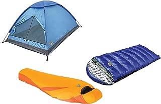 Alpinizmo High Peak USA Kodiak 0F & Latitude 20F Sleeping Monodome 3 Tent Combo Set, Blue/Orange, One Size