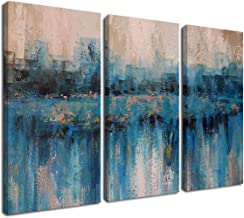 Canvas Wall Art Prints Abstract Textured Cityscape Painting Artwork Grey Blue Tones 3 Panels/Set Large Size Framed Pictures Ready to Hang for Living Room Bedroom Office Kitchen Decorations 16