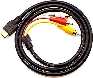 Chenduomi HDMI a AV Convertidor 1080p HDMI a 3RCA /AV/CVBS Compuesto Video Audio Adaptador (negro) (HDMI a 3rca cable, negro)