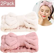 SweetCat Microfiber Bowtie Women Beauty Headbands, Extrame Soft & Ultra Absorbent, Comfort to Wash Makeup Mask Shower Facial Skincare Spa Thick Hair Band for Girls (Beige+Pink)