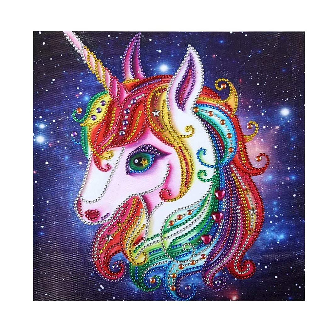 qiaoniuniu 5D Diamond Painting for Kids, Painting by Number Kits, Unicorn Toys, Arts Crafts Supply Set, Rhinestone Mosaic Making for Home Wall Decor Gifts for Christmas Birthday - Pony, Horse