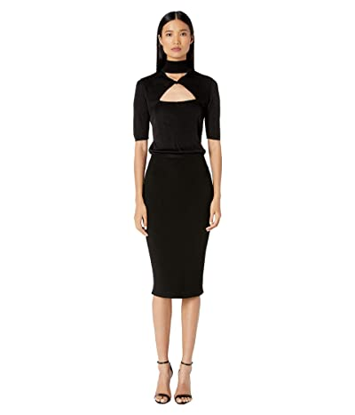 Cushnie Short Sleeve Mock Neck Knit Pencil Dress (Black) Women