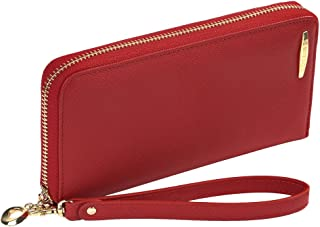 Clutch Wallet, COCASES RFID Protection Women Premium PU Leather Zip Purse Organizer for 2 Cell Phones, Cash and Cards with Coin Pocket and Wrist Rope (Red)