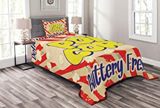Lunarable 1960s Bedspread, Popcorn Vintage Grunge Delicious Buttery Tasty Movie Advertising, Decorative Quilted 2 Piece Coverlet Set with Pillow Sham, Twin Size, Dark Blue Yellow Cream Scarlet