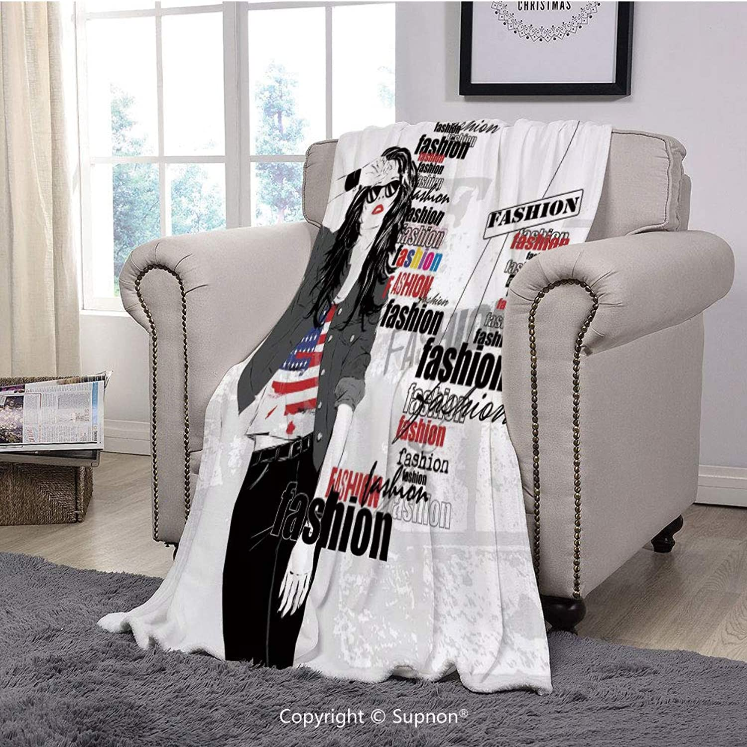Printing Blanket Coral Plush Super Soft Decorative Throw Blanket,Fashion House Decor,A Modern Girl with USA Flag Tshirt colorful Thema Beauty in Street,Black White(59  x 59 )