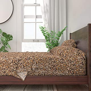 Roostery Sheet Set, Animal Exotic Safari Leopard Cheetah Girl Nursery Print, 100% Itallian Cotton Sateen Sheet Set, Queen