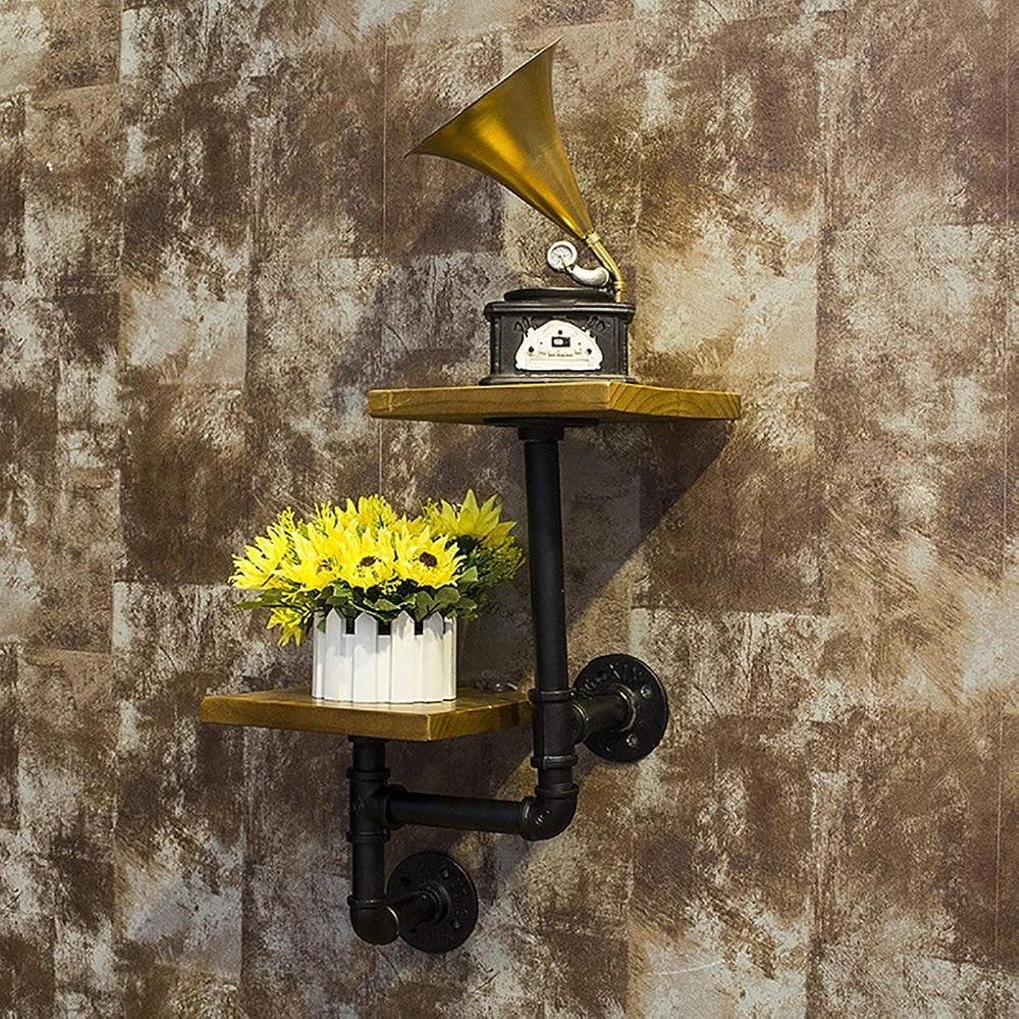 確かなディベート強いヴィンテージ錬鉄製の壁ラック吊りフレームシンプルな木製の本棚