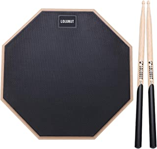 LOLUNUT 12 Inch Silent Drum Pad, Dumb Drum Beginner Rubber Practice Pad, with 5A Drum Sticks (12 Inch, Black)