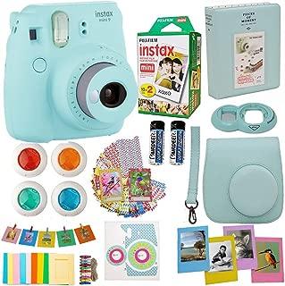 Fujifilm Instax Mini 9 Instant Camera Ice Blue + Fuji Instax Film Twin Pack (20PK) + Blue Camera Case + Frames + Photo Album + 4 Color Filters More Top Accessories Bundle