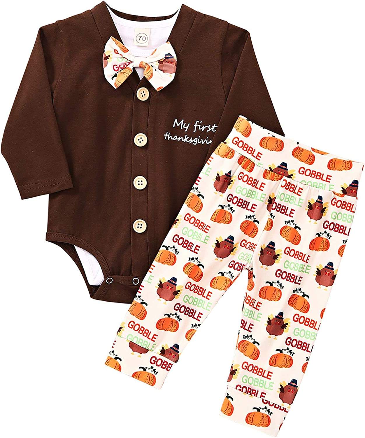 Baby Boy Thanksgiving Outfits Infant My First Thanksgiving Bodysuit Romper+Gobble Turkey Pants 3Pcs Clothes Set