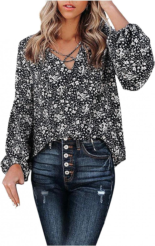Modaworld Chiffon Blouses for Women Black and White Shirt Lantern Sleeve Floral Print Sweatshirts Casual Loose Tops