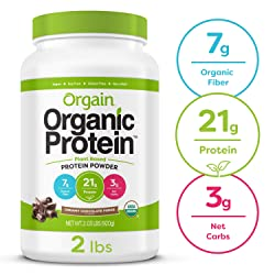 Orgain Organic Plant Based Protein Powder, Creamy Chocolate Fudge - Vegan, Low Net Carbs, Non Dairy,