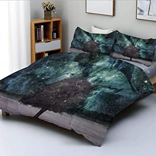 Duplex Print Duvet Cover Set Twin Size,Outer Space Nebula Galaxy Stars Mars Jupiter with a Tree on a Planet PrintDecorative 3 Piece Bedding Set with 2 Pillow Sham,Multicolor,Best Gift For Kids & Adult
