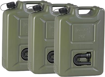 3er Set Benzinkanister 20 Liter Kraftstoffkanister Olivgrün 20l Un Zulassung Diesel Benzin Küche Haushalt