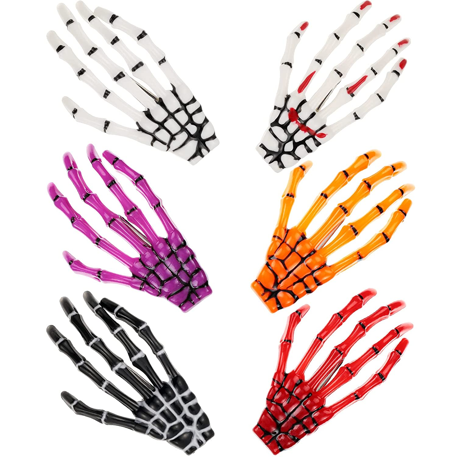 6 Pieces Skeleton Spring new work Hands Bone Hair Limited time sale Cl Claws Clips Skull Hand