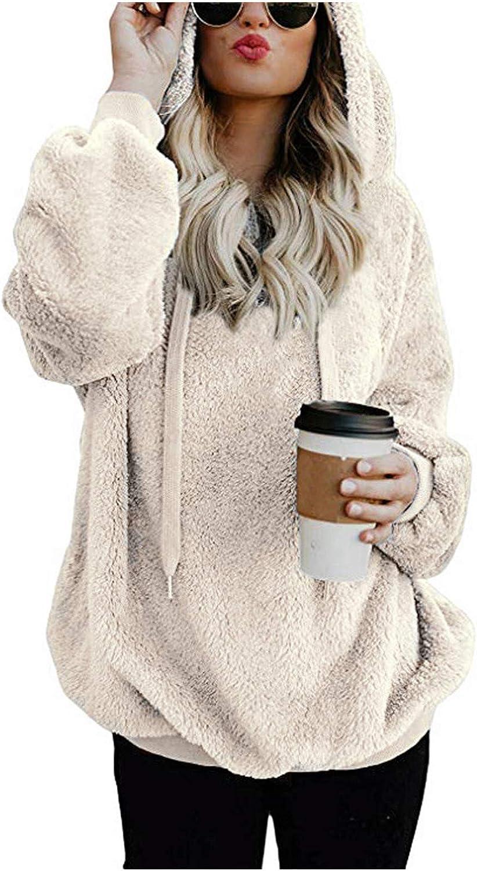 SALIFUN Womens Sherpa Pullover Fuzzy Fleece Sweatshirt Star print Oversized Hoodie Coat With Pockets Winter