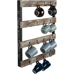 4 Row Barwild Mug Rack Wall 30 Peg Mounted Coffee Cup Holder Home Kitchen