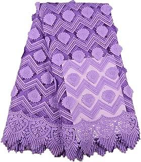 ZHANGOOQI Applique Milk Silk African Lace Fabric French Lace Fabric Nigerian Tulle Lace Fabric for Wedding Dress (Color : Purple, Size : 5YARDS)