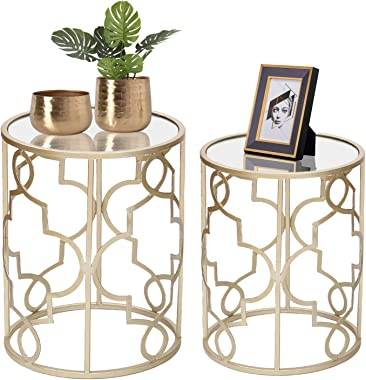 Joveco End Tables Set of 2- Light Champagne Gold Side Tables Elegant Coffee Table Nightstands Stools- Accent Nesting Side Tab