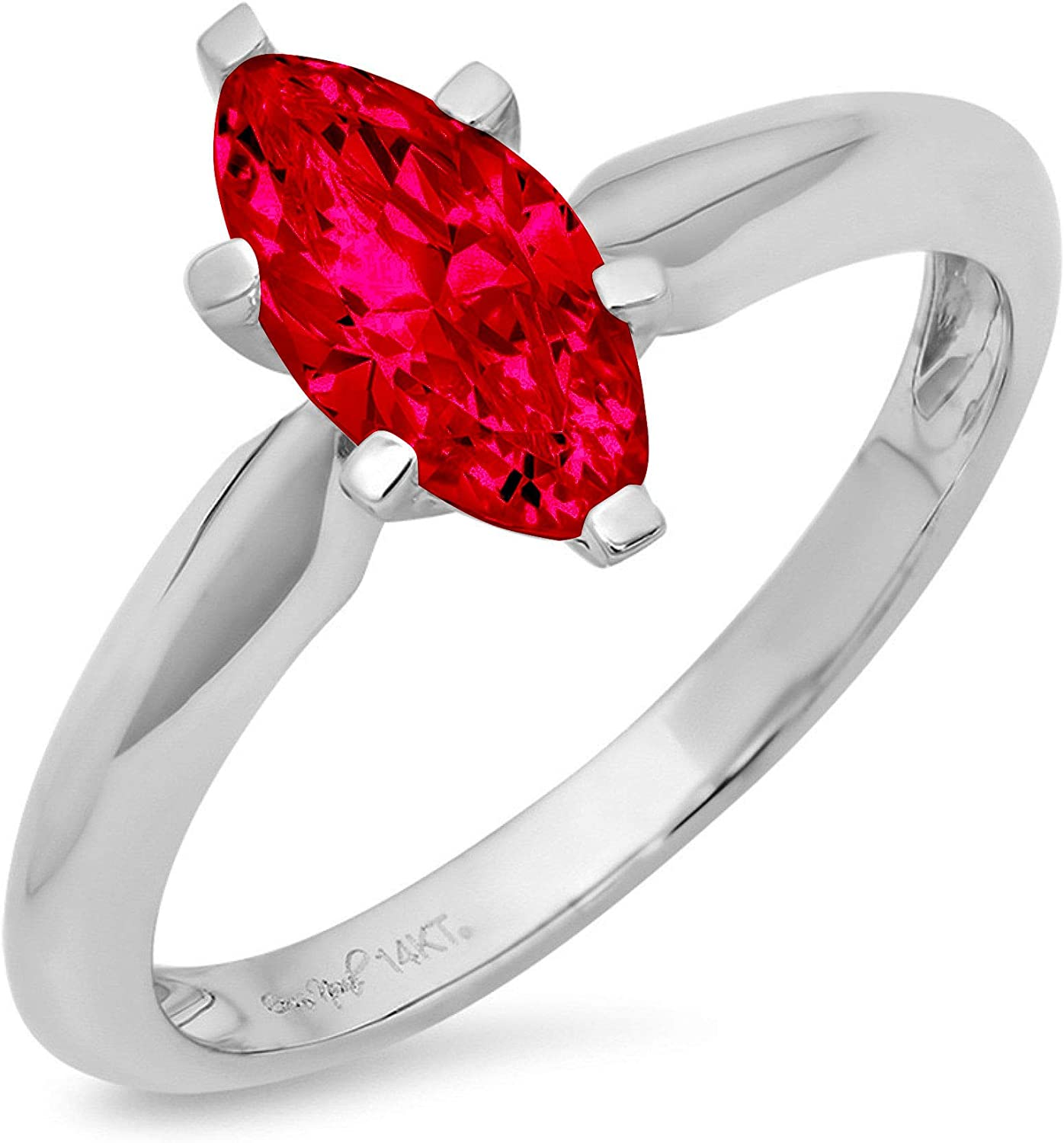 1.4ct Brilliant Marquise Cut Solitaire Flawless Simulated Cubic Zirconia Red Ruby Ideal VVS1 6-Prong Engagement Wedding Bridal Promise Anniversary Designer Ring Solid 14k White Gold for Women