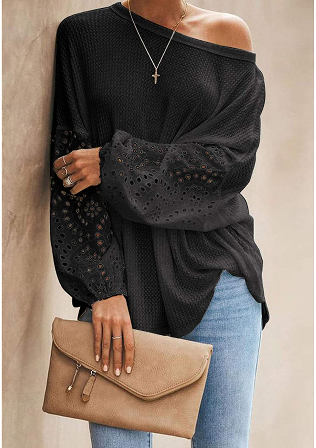 Misakia Women's Off Shoulder Sweater Waffle Knit Batwing Long Sleeve Loose Pullover Tops