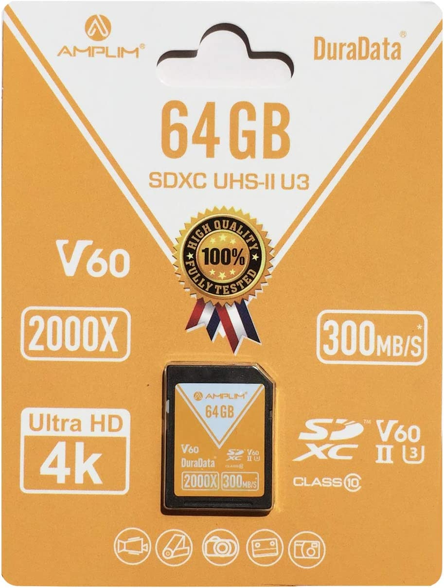 Amplim 64GB V60 UHS-II SD SDXC Card, 300MB/S 2000X Lightning Speed Performance, Extreme Read, U3 Secure Digital Memory Storage for Professional Photographer and Videographer