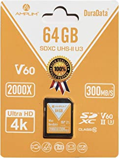 Amplim UHS-II SD Card: Ultra Fast 285MB/s (1900X), V60, U3, Class 10 SDXC Memory Card for 4K, Full HD, 3D, HDR, 360 Video ...