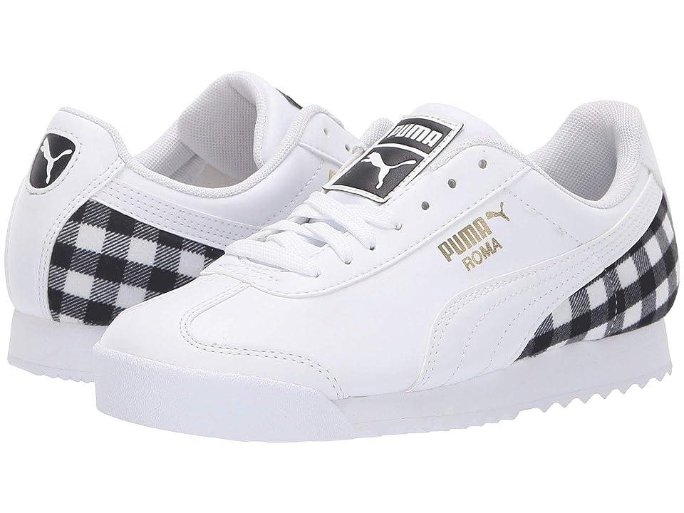 Puma Kids Roma Leather Flannel Jr (Big Kid) (Puma White/Puma Team Gold/Puma Black) Kids Shoes