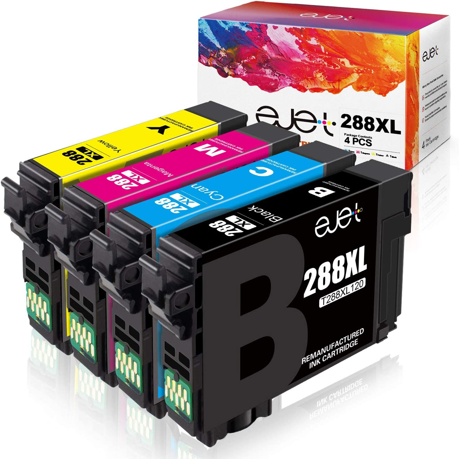 ejet Remanufactured Ink Cartridge Replacement for Epson 288 288XL Ink Cartridges for Expression Home XP-440 XP-330 XP-340 XP-430 XP-434 XP-446 Printer Tray(1 Black, 1 Cyan, 1 Magenta, 1 Yellow) 4 Pack