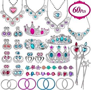 Joinart 60 Pcs Princess Jewelry Toys, Girl Toys Princess Pretend Play Set Girl Jewelry Toys Crown Wand Necklace Bracelet R...