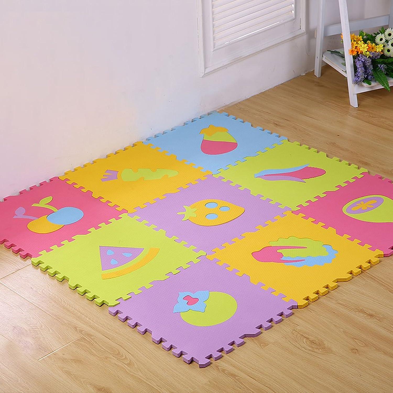 Niños EVA Frutas y Verduras Puzzle Cartoon Puzzle Mats Sala de Estar Baby Gateling Mosaico Mats 9   Installed, 40  40  1.3cm