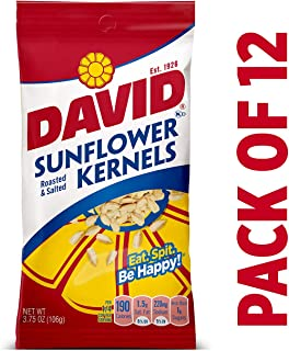 DAVID Roasted and Salted Original Sunflower Kernels, 3.75 oz, 12 Pack