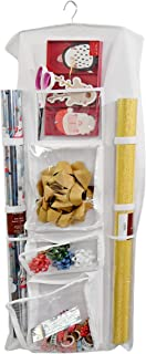 """Home-X Double-Sided Hanging Gift Wrap Organizer, Storage for Wrapping Paper and Craft Supplies, Multiple Front and Back Pockets, Organize Gift Bags Bows Ribbons, 40"""" Rolls-40""""x 17"""" (White)"""